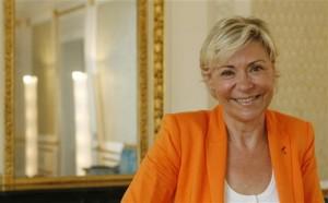 anou Massenez-Heitzmann, dans les salons d'honneur de la CCI de Strasbourg. Elle vient d'être réélue à la Chambre régionale de Commerce et d'industrie.